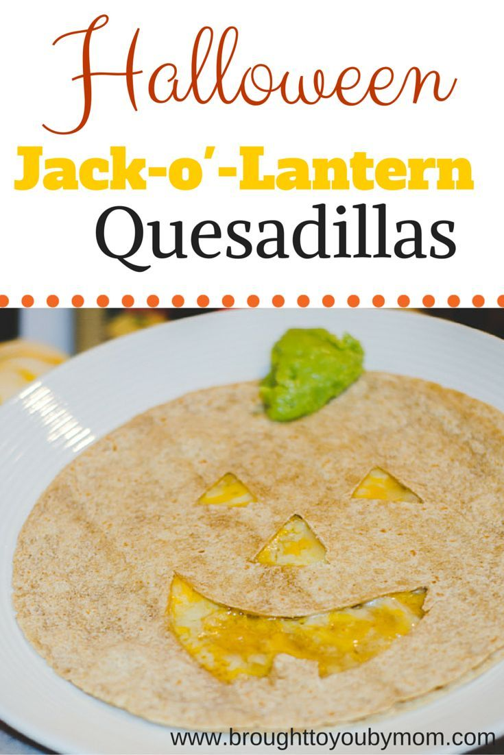 Halloween Jack-o'-Lantern Quesadillas. How to make a fun and easy Halloween Jack-o'-Lantern Quesadillas for the kids lunches.