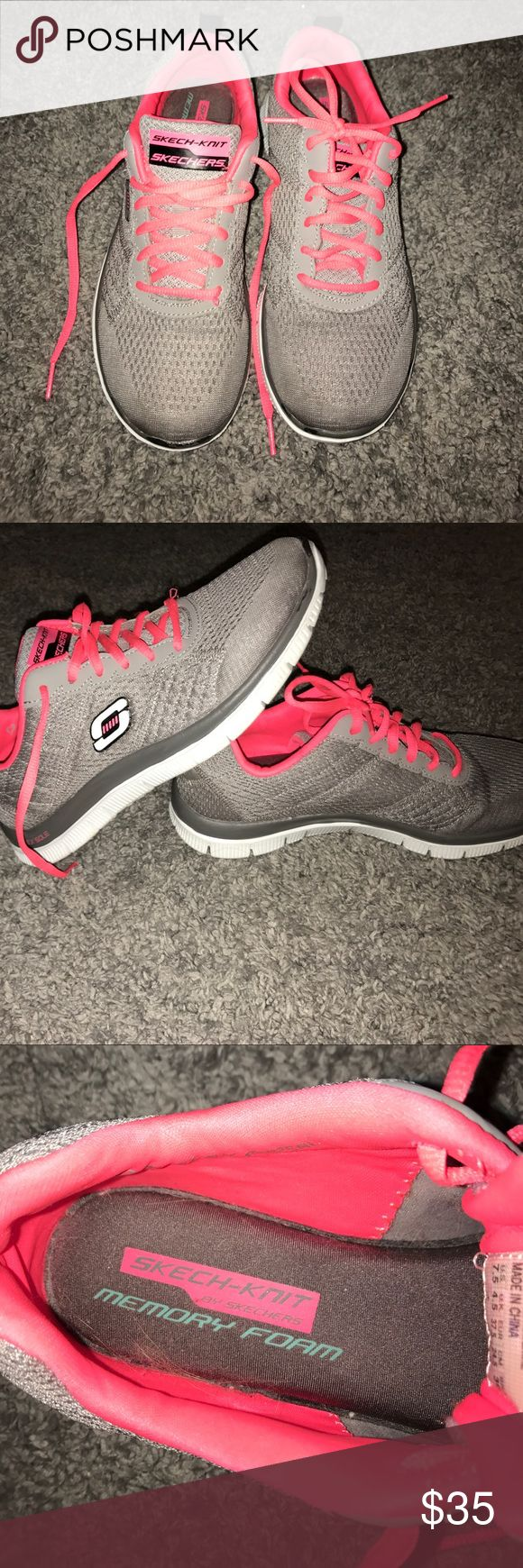 🔥SALE🔥 SKECHERS SKECH-KNIT MEMORY FOAM SHOES!!! HALF OFF! 💥Neon Pink and Gray Skechers Memory Foam Shoes. Only uses once or twice. They are size 7.5 U.S. Originally paid $50 for them.     ⚠️❌Sorry NO Trades❌⚠️     ❣️Willing to make an offer❣️ 🗯Comment for any questions or concerns🗯 Skechers Shoes Sneakers