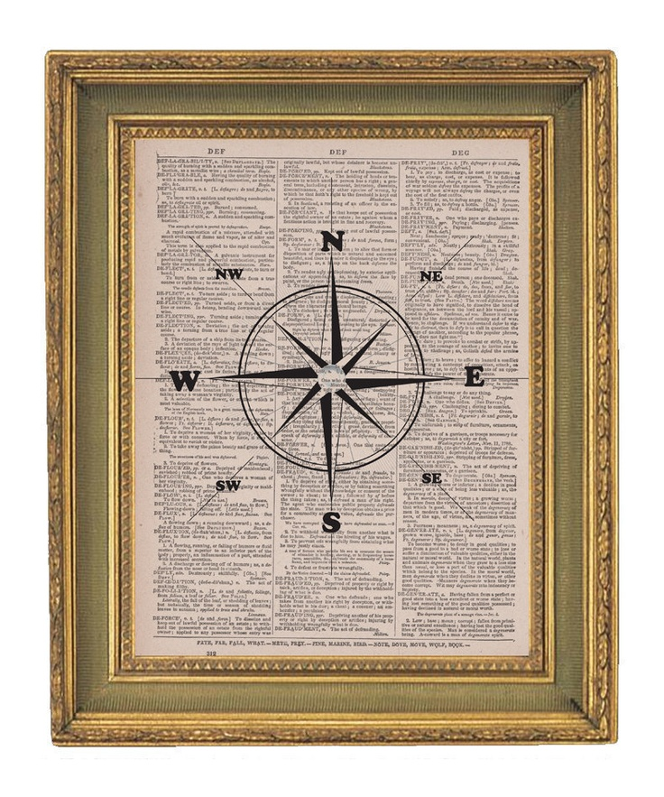 Boys room -- Compass Print Nautical Art -Vintage  Dictionary Print- 8x10. $6.95, via Etsy.