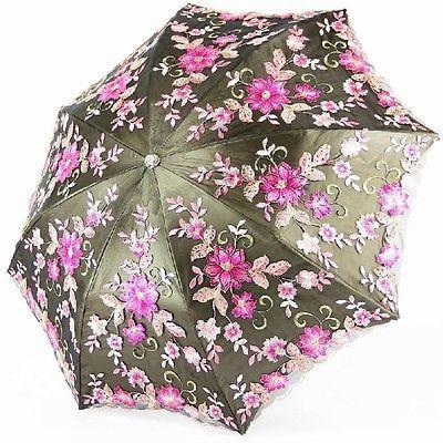 New Women TOP Luxury Umbrella Lady Embroidery lace Anti UV Sun Rain Parasol
