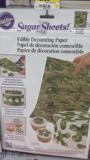 Camo cake decor at Walmart - can cut and put on top of cookies/cupcakes