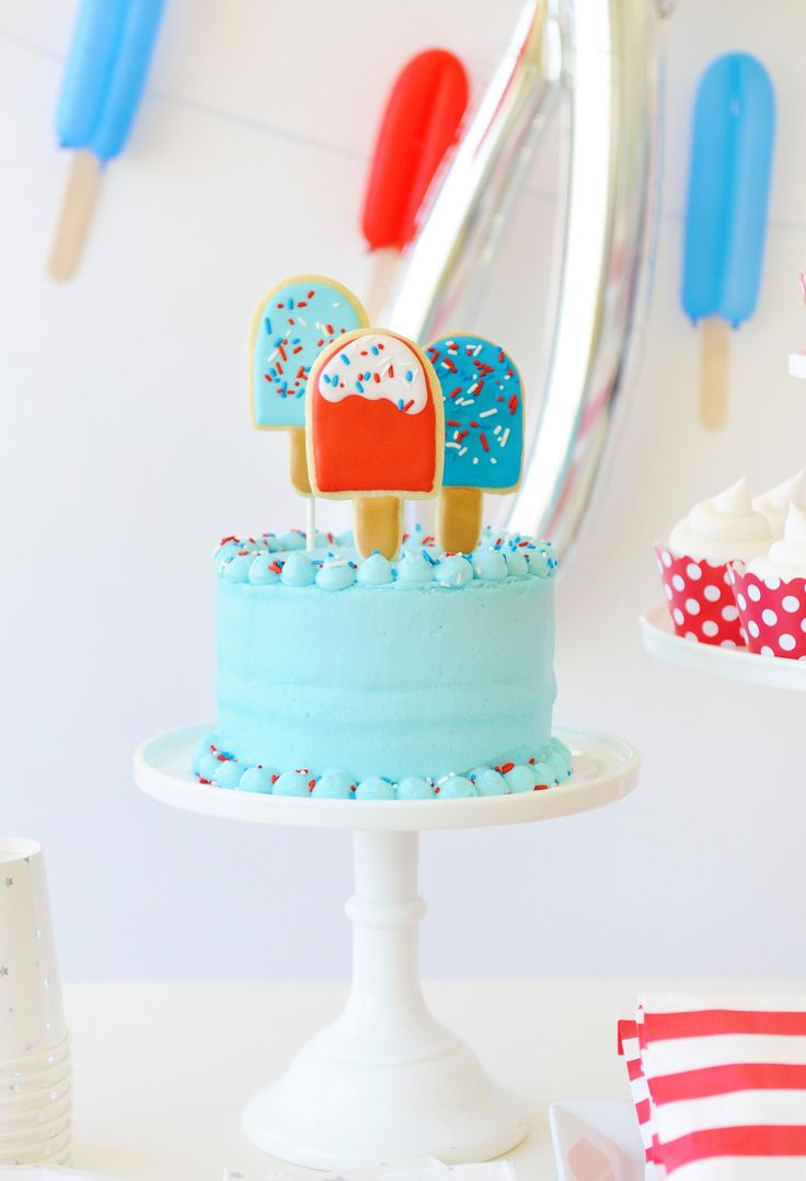 Popsicle Cake at a Popsicle Party. Perfect for a pool side, summer time bash!