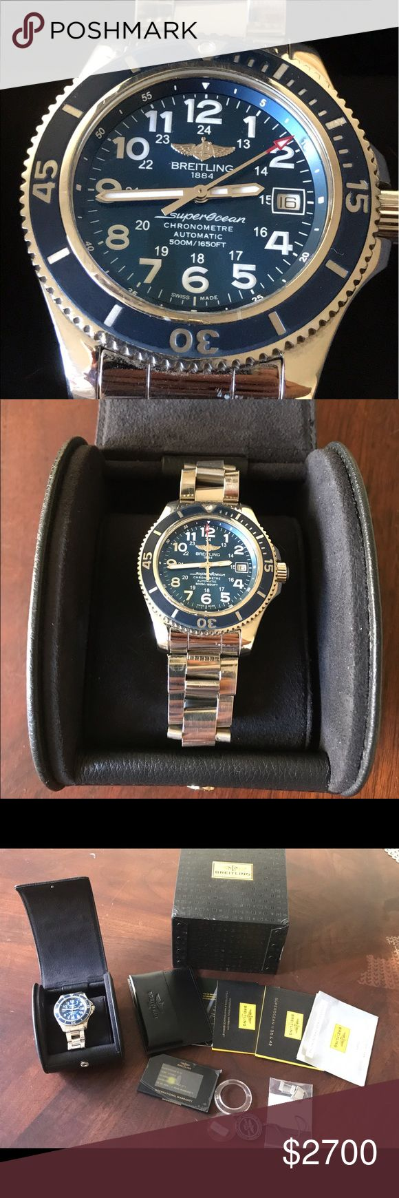 Authentic Breitling Superocean II 42 ✅check my shop discount for current offers bundle. ✅please don't make comments about my pricing, USE THE OFFER BUTTON(I will not respond to offers in the comments)     ✅PLEASE STUDY PICTURES BEFORE BUYING               🚫no trades🚫no holding🚫no lowball offers Poshmark  keeps 20%‼️                                                                    💓have a great day ☀️🌈💓Kelly 💓 Breitling Accessories Watches