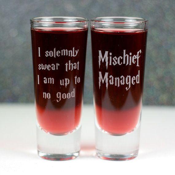 Mischief Managed &  I Solemnly Swear Etched shooter shot glass set by GlassBlastedArt, $14.00