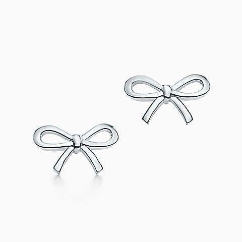 Tiffany Bow earrings in sterling silver, mini.