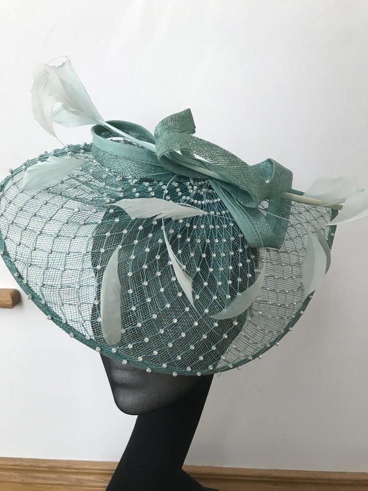 Ladies Blue Green Wedding Hat Ascot Aintree Race Day Bride