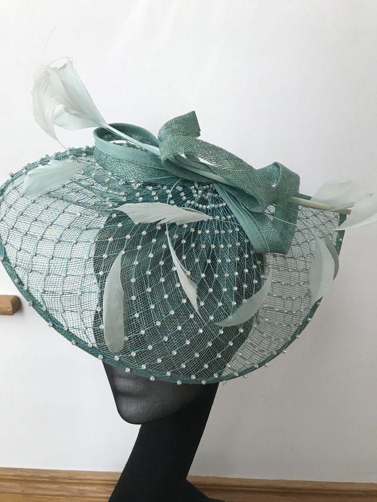 Ladies Blue Green Wedding Hat Ascot Aintree Race Day Bride