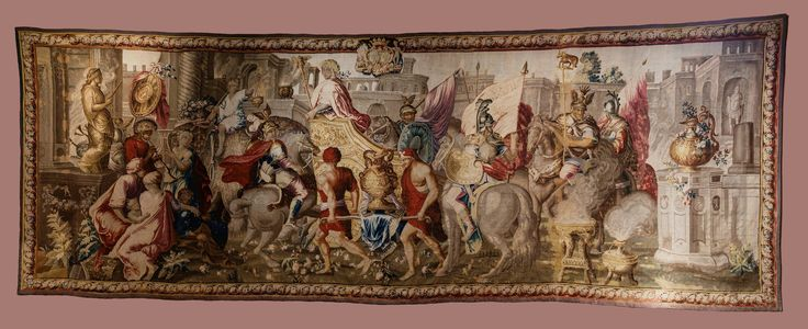 Tapestry with Entry by Alexander to Babylon from the series of Story of Alexander the Great with coat of arms of Franciszek Salezy Potocki and his wife Anna Elżbieta Potocka by Aubusson manufacture after Charles Le Brun, before 1772 (PD-art/old), Zamek w Pieskowej Skale, from Potocki Palace in Krystynopol