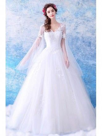 b12c58d60783 Dreamy Cape Lace Sleeves Princess Wedding Dress Ball Gown Tulle  #weddingaccessories