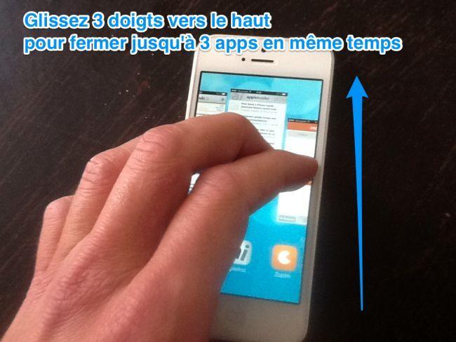 Vous souhaitez fermer plusieurs applications en même temps sur votre iPhone ?  Sachez qu'il existe un p'tit truc secret sur iOS 7 pour fermer plusieurs apps simultanément.   Découvrez l'astuce ici : http://www.comment-economiser.fr/fermer-plusieurs-apps-iphone.html