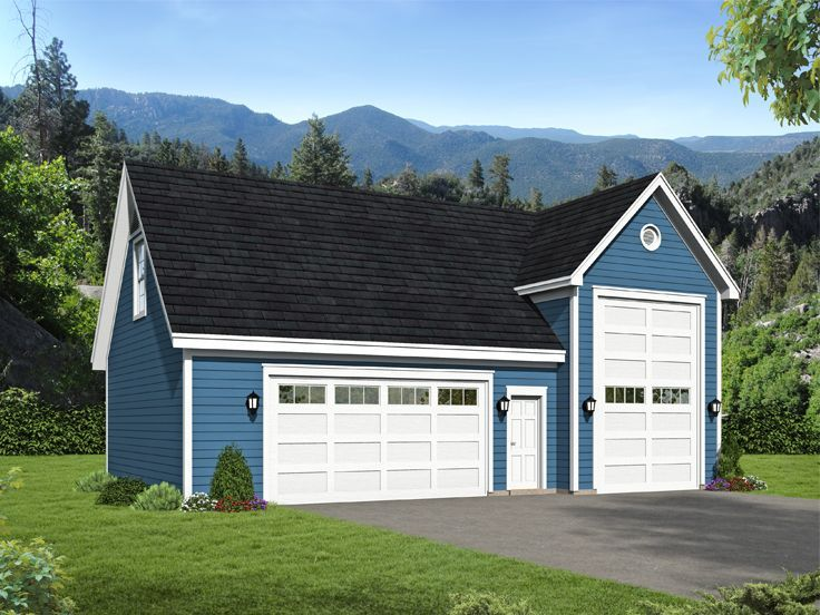 062g 0158 Rv Garage Plan With Attached 2 Car Garage Garage Door Styles Rv Garage Rv Garage Plans