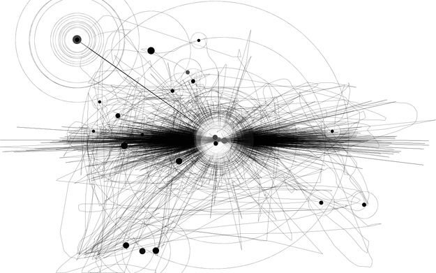 Reddit user Derpasaurous mapped almost an hour of mouse use. Here's what it looks like (lines are swipes, dots are clicks, and circles are stops).
