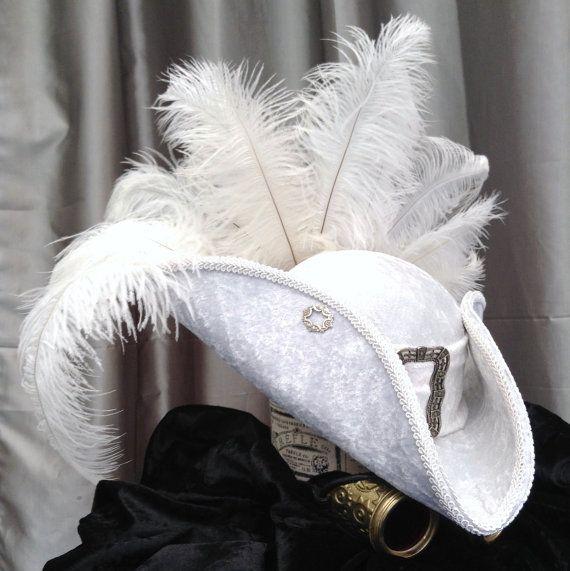 Lady Amilie white velvet tricorn steampunk hat