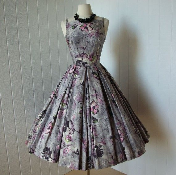 Grey & purple floral polished cotton party dress, circle skirt. #1950s