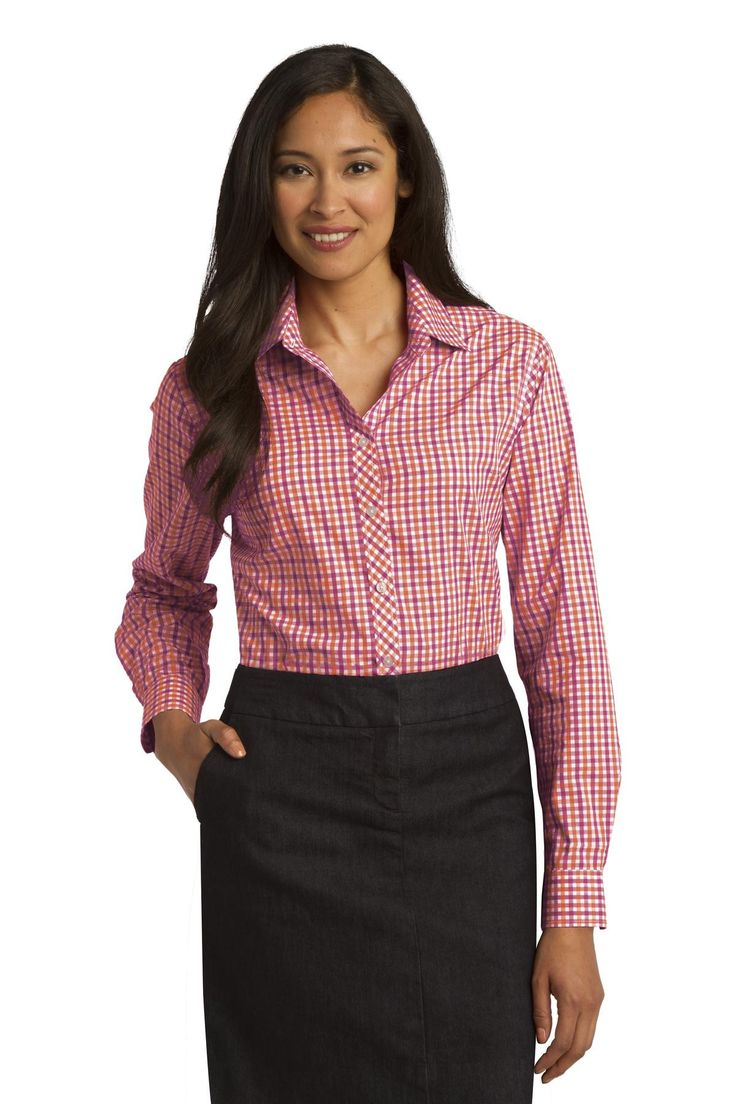 Port Authority Ladies Long Sleeve Gingham Easy Care Shirt. L654 Tangerine/ pink