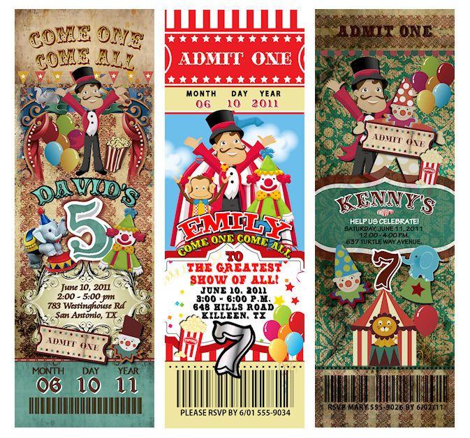 Circus Carnival PERFORATED Invitation & ENVELOPE TICKET #newyorkinvitations #BirthdayChild