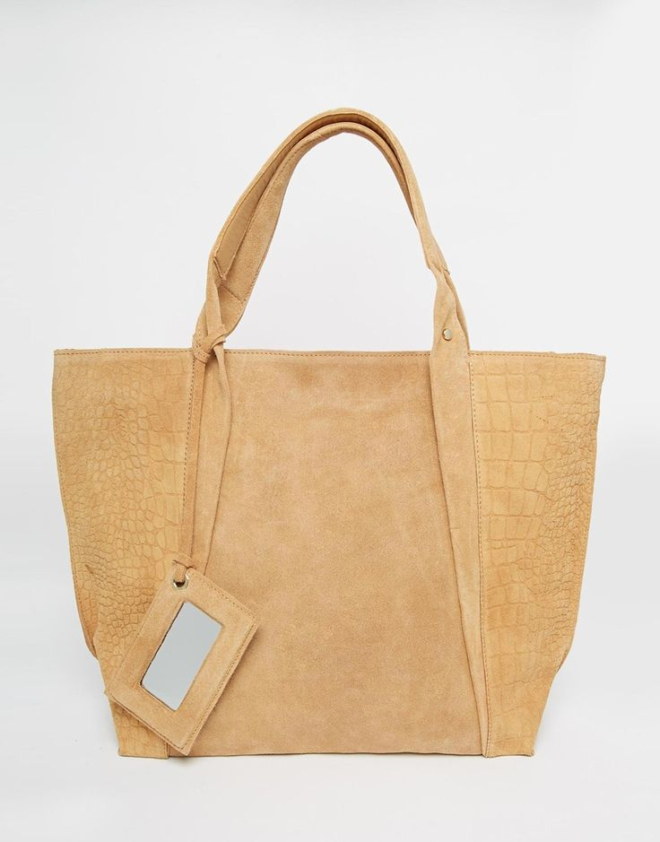 River Island Leather and Suede Embossed Shopper