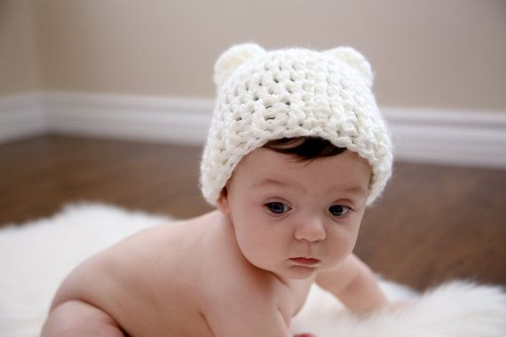 Cream Bear Hat fits newborn to adult by NoisyBoyz on Etsy, $18.00