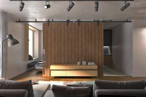sliding wood panels one bedroom apartment interior design