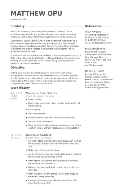 warehouse resume samples