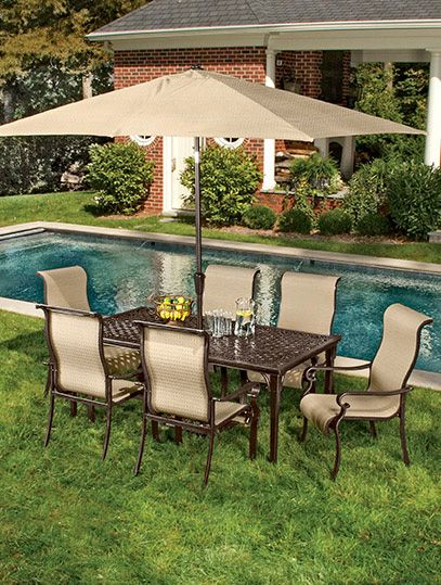 Exquisite details mark this 7 piece outdoor dining set from the Brigantine  Collection 102 best Patio images on Pinterest   Outdoor living patios  . Outdoor Dining Chairs Only. Home Design Ideas