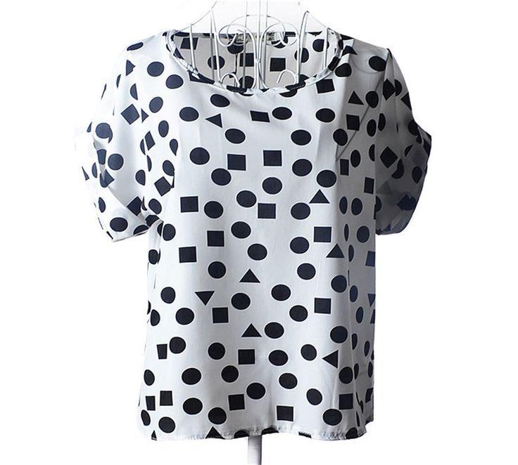 Hot Sale Women Chiffon Tops 2016 Fashion Women Summer T-shirt Causal Printed Batwing Sleeve Loose Shirt Femme Plus Size Tees