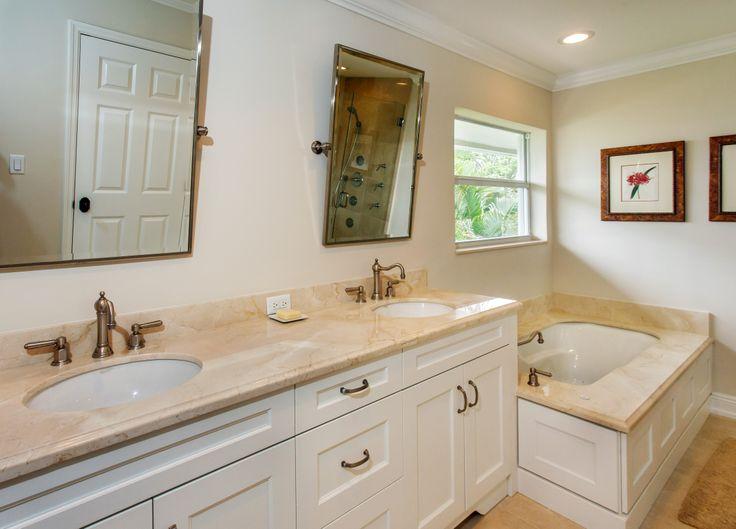 #bathroom #vanity #counter #bath #tub #delraybeach #cremamarfil #marble #luxury #natureofmarble #southflorida #marblebath #marblebathroom #marbletub #marblecounter #marblevanity #marblecountertop