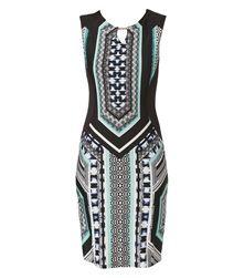 Ελαστικό φόρεμα σε στενή ίσια γραμμή με digital prints.