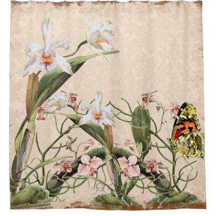 #Orchids and Butterfly Shower Curtain - #Bathroom #Accessories #home #living