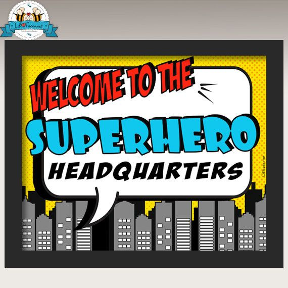 Superhero Birthday Party Welcome sign Personalized Printable -  Superheroes sign party supply