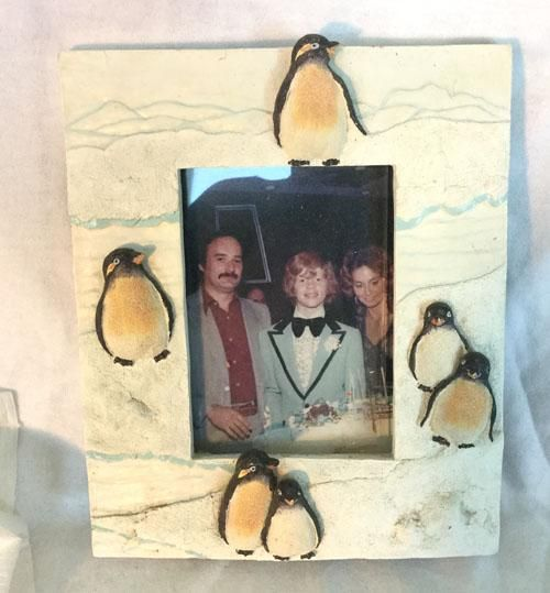 "Ceramic Penguin Picture Frame (7"" Tall)"