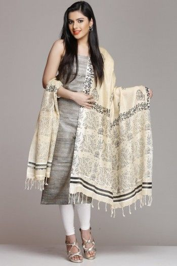 Grey Khadi Silk Cotton Unstitched Suit With Religious Hand Block Print