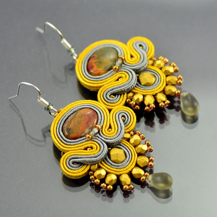 Gold Soutache Earrings Emasnya Inca Soutache от OzdobyZiemi