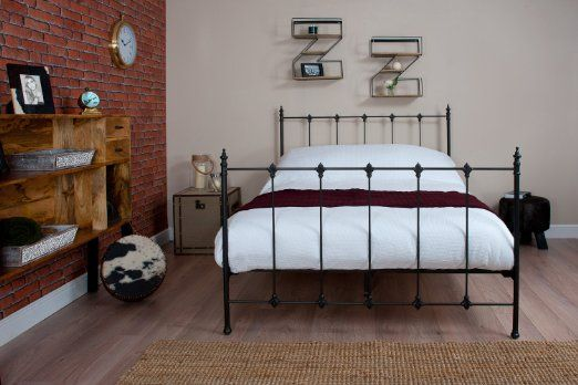 Silentnight Double 4'6 Carrington Black Metal Bed Free Next Day Delivery.