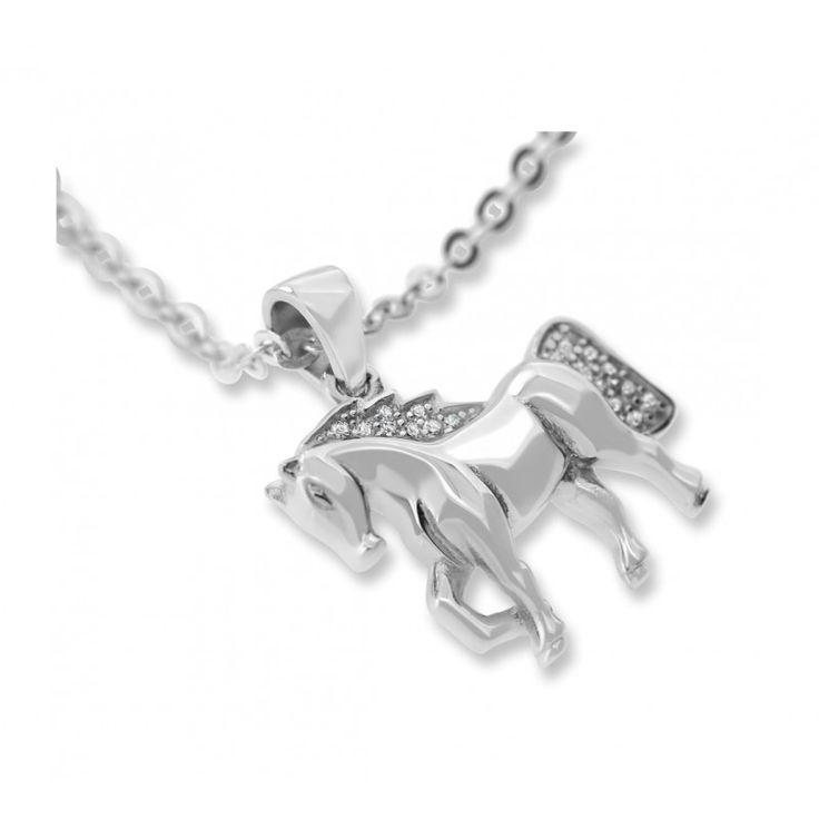 Eine wunderschöne Kette mit einem massiven, detailreich gearbeiteten Pferdeanhänger aus 925 Sterling Silber. Das Pferd ist mit funkelnden Zirkonia besetzt.Eine schöne Kette als Geschenk für das Enkelkind, zum Geburtstag etc.