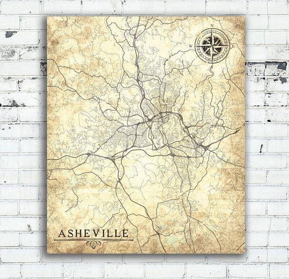 ASHEVILLE NC Canvas Print Asheville City NC North Carolina Vintage map Wall Art…