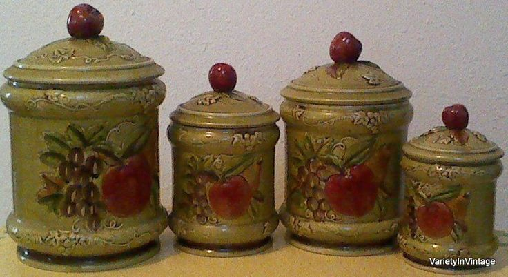 vintage geo z lefton fruit 4 canister set apple tops signed 3761 olive green retro. Black Bedroom Furniture Sets. Home Design Ideas