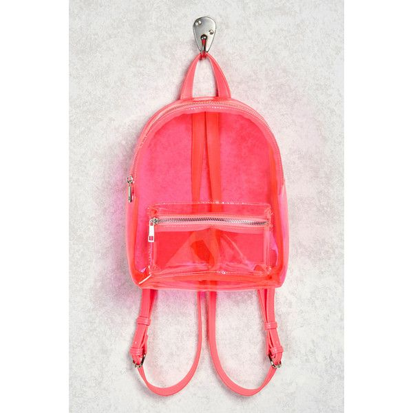 Forever21 Faux Leather Trim Clear Backpack ($25) ❤ liked on Polyvore featuring bags, backpacks, pink, forever 21 backpacks, daypack bag, red top handle bag, forever 21 and backpack bags