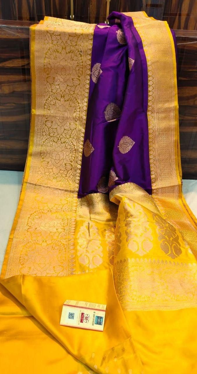 Pure Katan Silk Sarees Violet And Yellow Pure Products Silk Touch Silk Sarees