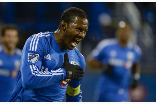 Impact midfielder Patrice Bernier is all pumped up after scoring a first-half goal against Toronto FC during MLS playoff action in Montreal Thursday night.