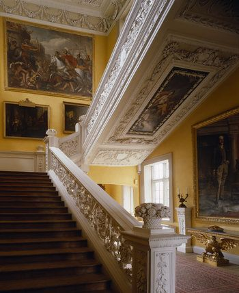 Sudbury Hall ~ View from the ground floor up the Grand Staircase showing the elaborate carved balustrade by Edward Pierce, the plasterwork on the underside by James Pettifer & the paintings.