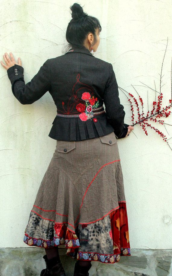 S-M folk roses appliqued gypsy recycled skirt boho by jamfashion