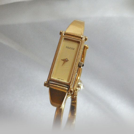 Vintage gucci watch women 39 s small gold bracelet by waalaa timepieces pinterest for Small size womans watch