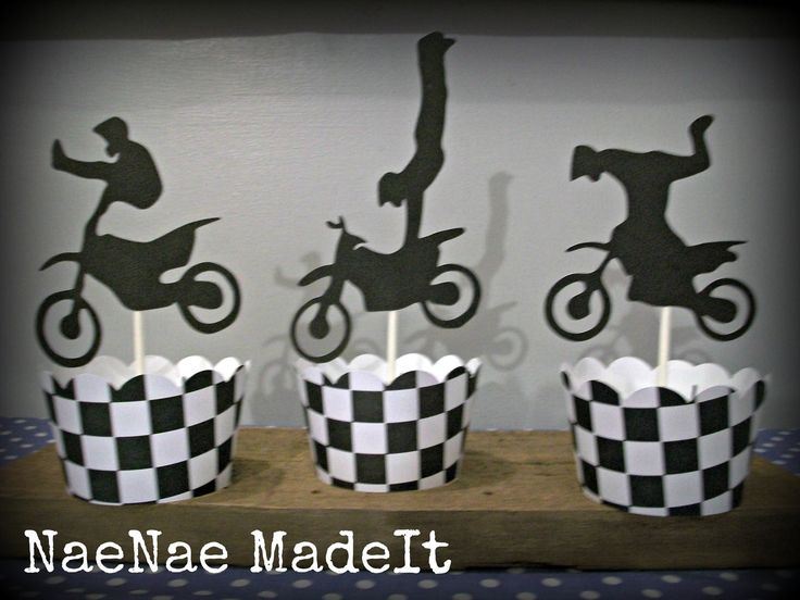 Motorcross Dirtbike Birthday Cupcake Wrappers. $5.50, via Etsy.