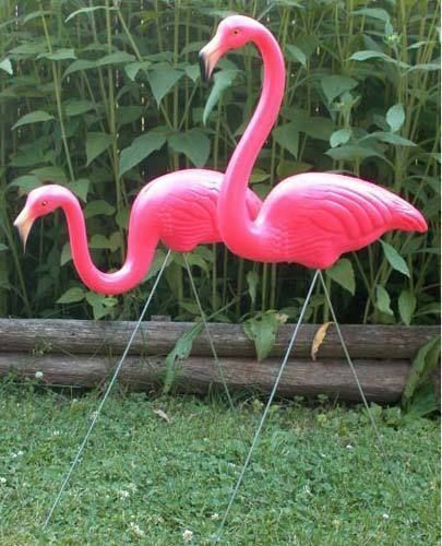 2-x-Pink-Flamingo-Garden-Lawn-Ornament-Wedding-Decor-kitsch-Union-Product