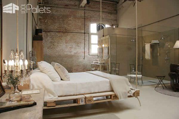 Hanging Pallet Bed DIY Pallet Bedroom - Pallet Bed Frames & Pallet Headboards