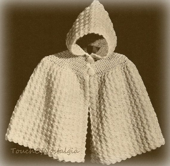 Knitting Pattern Cape With Hood : Crochet Baby HOODED CAPE vintage Crochet Pattern - Cuddly Hooded Carrying Cap...