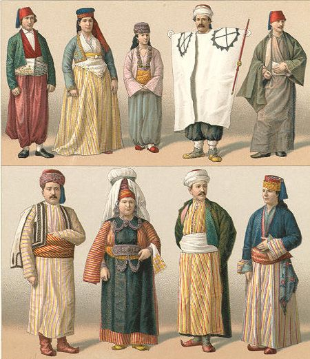 Costumes from the Late-Ottoman era.  Circa 1870.turkish