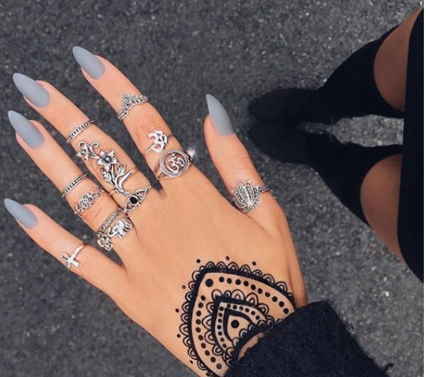 Hippie Bohemian Nails, Rings And Flash Tattoo