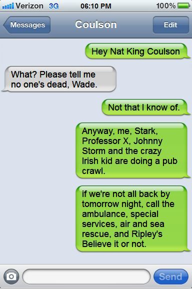 Deadpool texts Coulson and hilarity ensues.